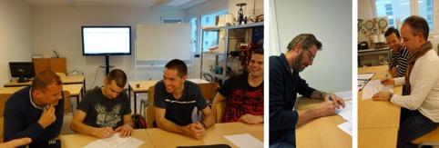 Signature du document officiel de fusion (de gauche à droite: Frédéric Falcotet, Michel Dauget, Fabien Mottier, Etienne Giroud, Jérémie Zuber et Robert Moreau)